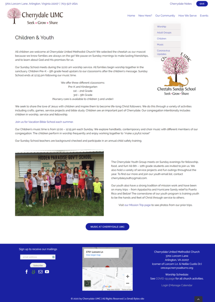 Cherrydale UMC Youth Page New
